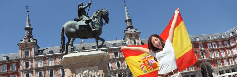 Madrid tourist spain flag